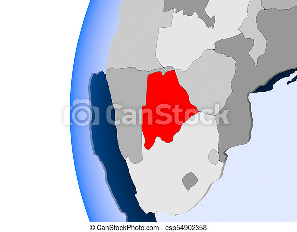 Map of Botswana on political globe - csp54902358