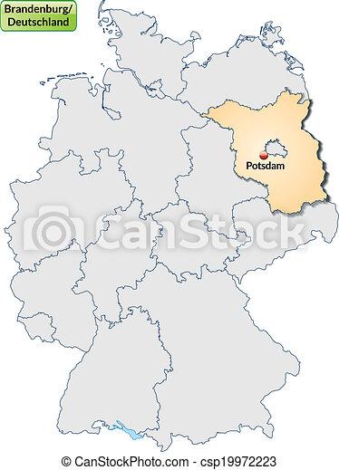 Map of brandenburg with main cities in pastel orange vector