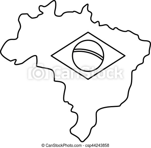 Map Of Brasil Icon Simple Style Map Of Brasil Icon Outline