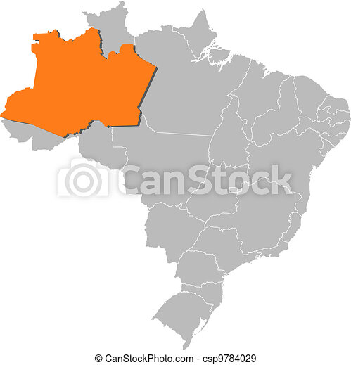 Map of brazil, amazonas highlighted. Political map of brazil with ...