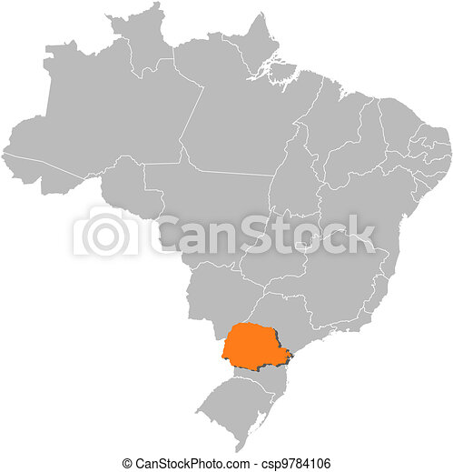 Map of Brazil, Parana highlighted