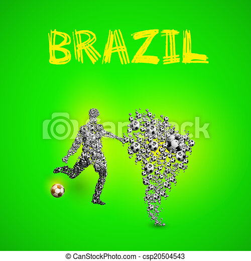 Map of Brazil with football player and ball, easy all editable - csp20504543