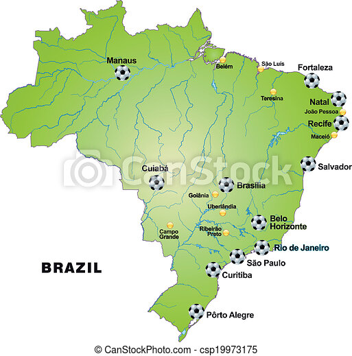 Map of brazil with football stadiums in green.