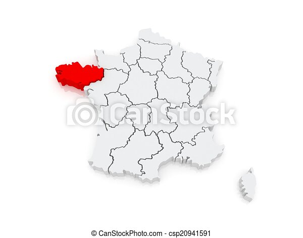 Brittany On Map Of France.Map Of Brittany France 3d