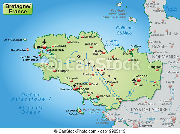 bretagne karta Map of brittany as an overview map in pastel green. bretagne karta