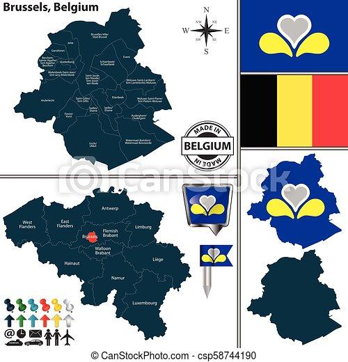 Map of Brussels, Belgium