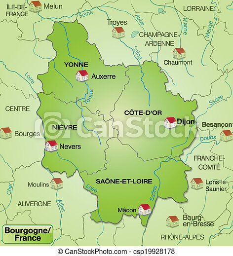 Macon France Map.Map Of Burgundy With Borders In Green