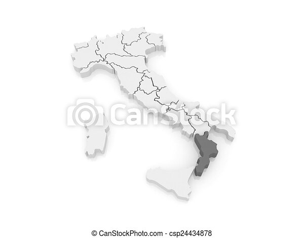 Map Of Calabria Italy 3d