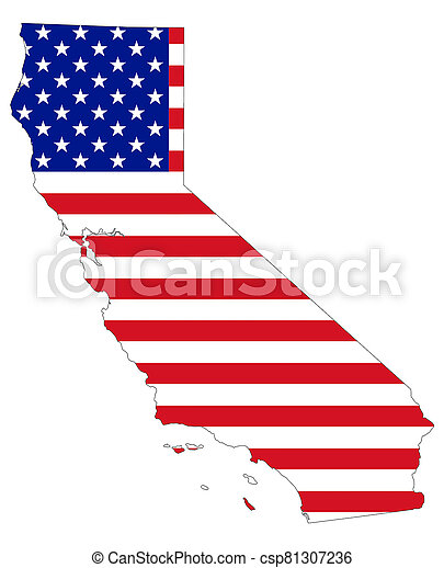 Map of California with flag of USA - csp81307236