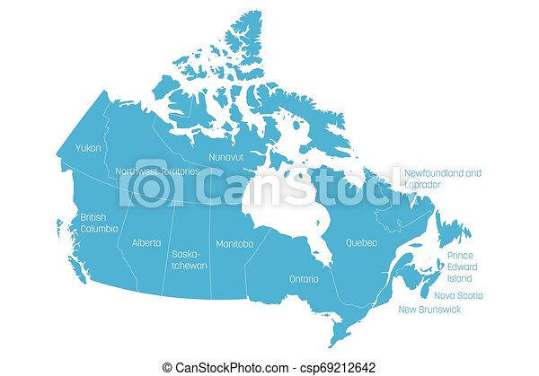 Map of Canada divided into 10 provinces and 3 territories. Administrative  regions of Canada. Blue map with labels. Vector illustration