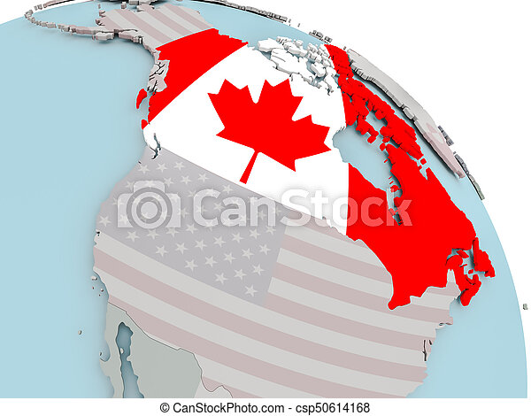 Map of Canada with flag - csp50614168