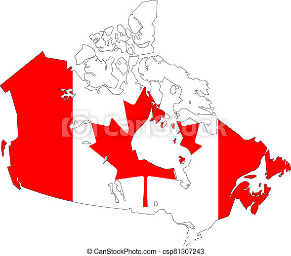 Map of Canada with flag - csp81307243