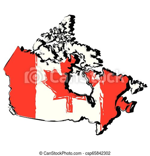 Map of Canada with flag - csp65842302