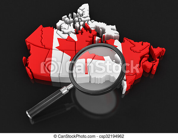 Map of Canada with loupe - csp32194962