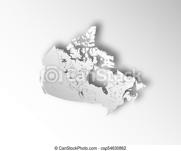 Map of Canada with paper cut effect. Rivers and lakes are shown. - csp54630862