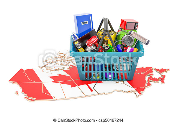 Map of Canada with shopping basket full of home and kitchen appliances, 3D rendering - csp50467244