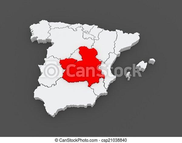 La Mancha Spain Map.Map Of Castilla La Mancha Spain 3d