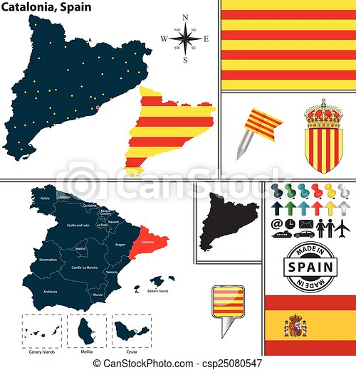 Map Of Catalonia Spain Vector Map Of Region Of Catalonia With Coat