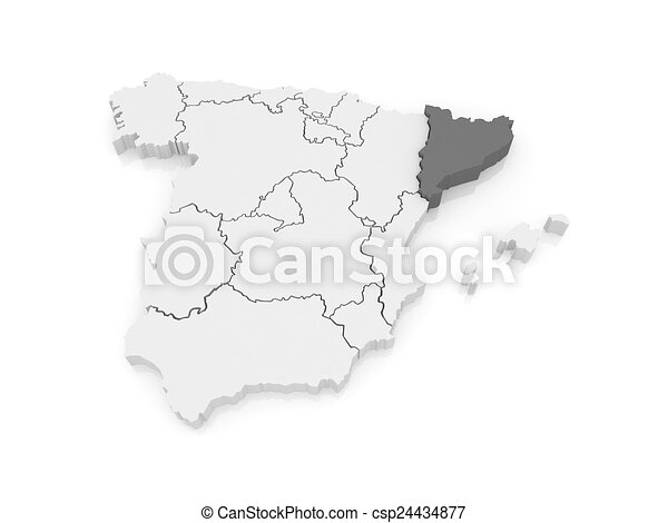 Map Of Catalonia Spain 3d