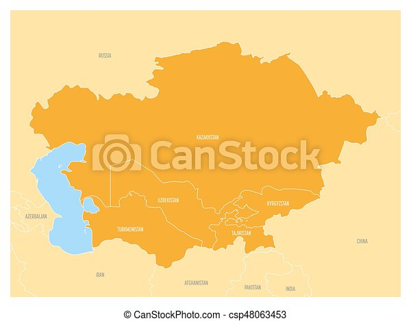 map of central asia region with orange highlighted kazakhstan kyrgyzstan tajikistan turkmenistan