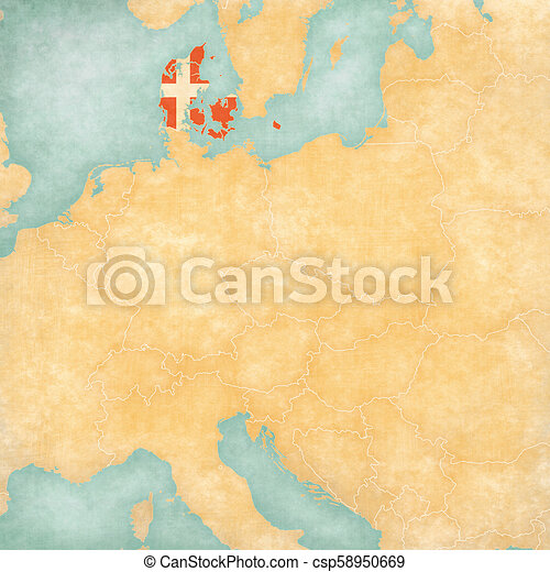 Map of central europe - denmark. Denmark (danish flag) on the map of ...