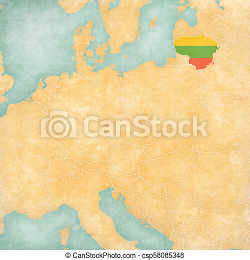 Lithuania On Europe Map.Map Of Central Europe Lithuania Lithuania Lithuanian Flag On