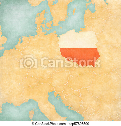 Map Of Central Europe Poland Poland Polish Flag On The Map Of