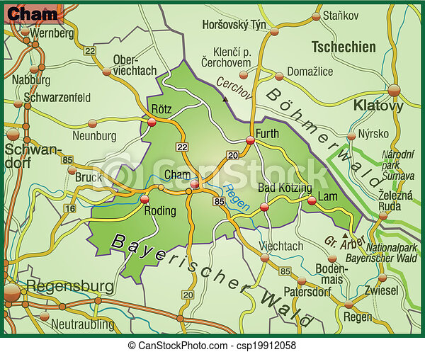 Map of cham with highways clipart vector Search Illustration