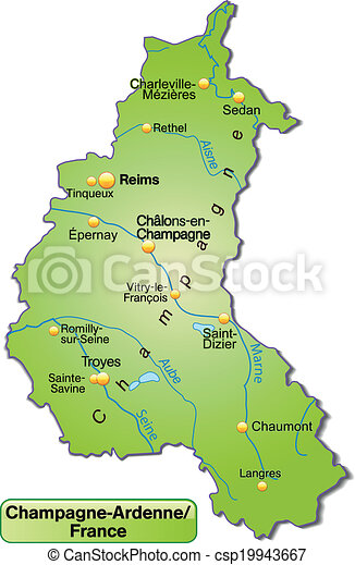 champagne karta Map of champagne ardenne as an overview map in green. champagne karta