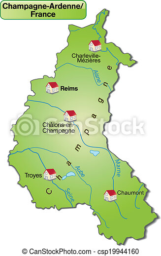 Map of champagne-ardenne as an overview map in green. Champagne Ardenne Map on