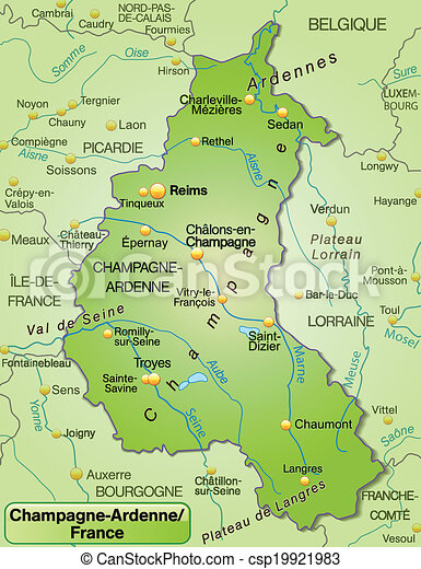 Map of champagneardenne as an overview map in green vector Search