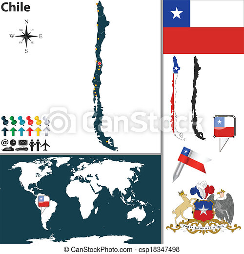 Map of Chile - csp18347498