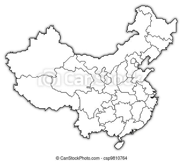 Map of China, Hong Kong highlighted - csp9810764