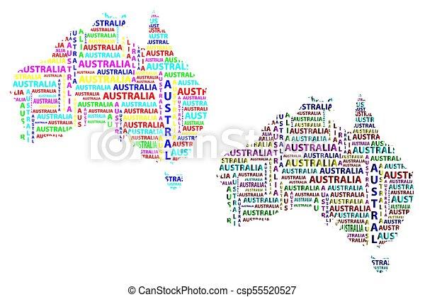 Australia Word Map.Map Of Continent Australia Color Vector Illustration