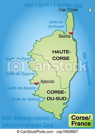 Map of corsica with borders in pastel green.