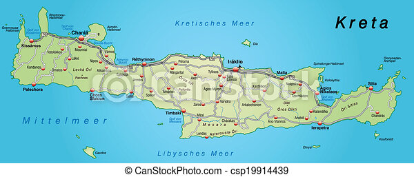Map Of Crete With Highways In Pastel Green