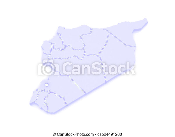 Map of damascus. syria. 3d.