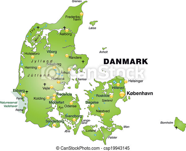 Map Of Denmark As An Overview Map In Green