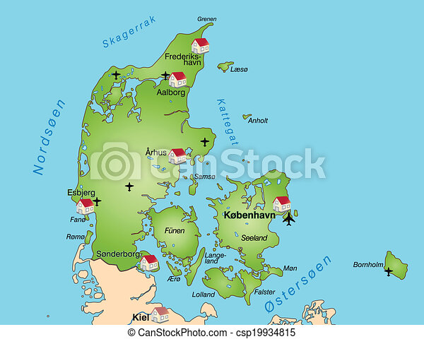 Map Of Denmark As An Infographic In Green
