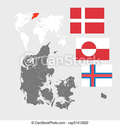 Map of denmark with lakes and rivers and three flags map of map of denmark with lakes and rivers world map and three flags flag of denmark dannebrog flag of greenland and flag of the faroe islands gumiabroncs Image collections