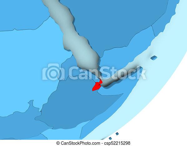 Map of Djibouti on blue political globe - csp52215298