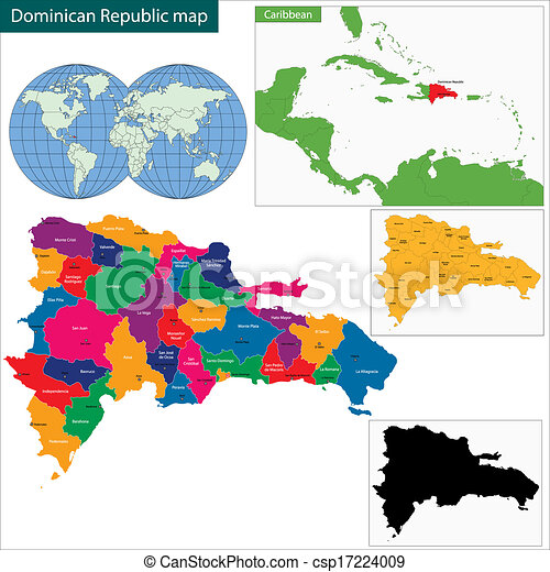Vector Clipart Of Map Of Dominican Republic With The Provinces - A map of dominican republic