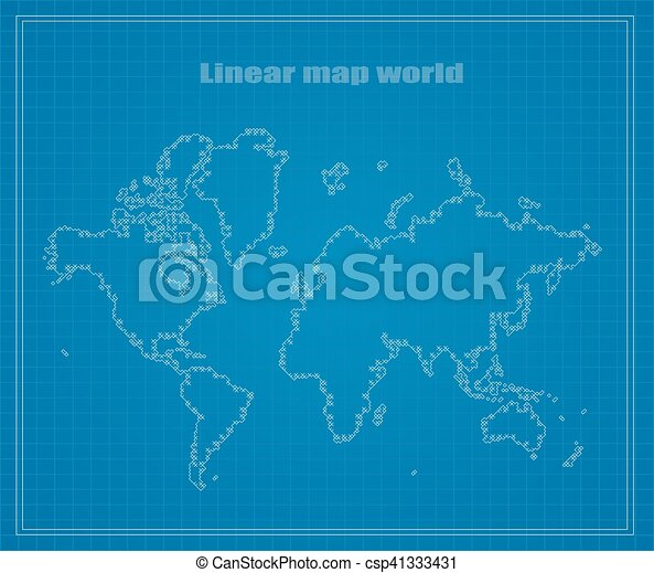 Map of earth linear blueprints vector illustration vectors map of earth linear csp41333431 malvernweather Image collections
