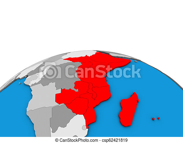 Map of East Africa on 3D globe - csp62421819