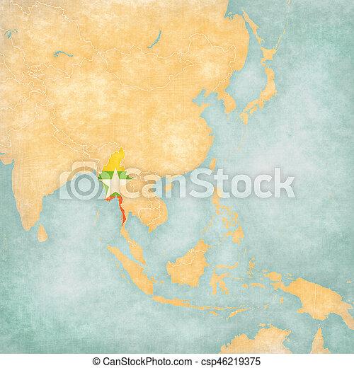 Map of East Asia - Myanmar - csp46219375