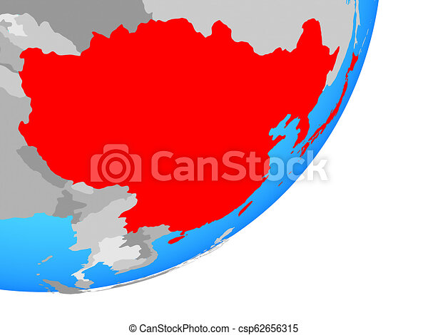 Map of East Asia on globe - csp62656315