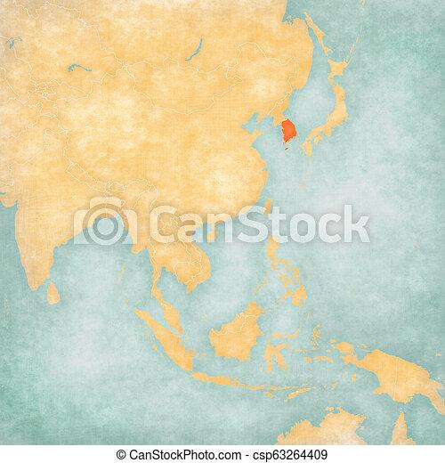 Map of East Asia - South Korea - csp63264409