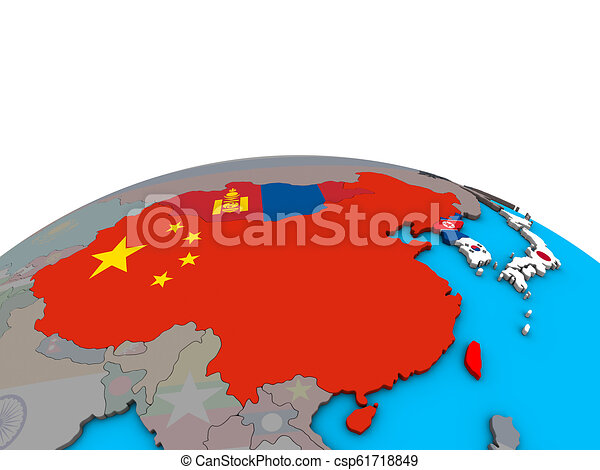 Map of East Asia with flags on globe - csp61718849