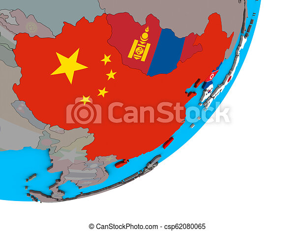 Map of East Asia with flags on globe - csp62080065