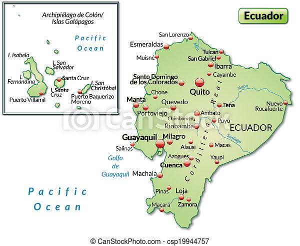 Map of ecuador as an overview map in pastel green map of ecuador csp19944757 publicscrutiny Choice Image